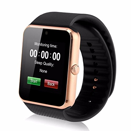 Padgene Smart Watch Bluetooth avec Slot SIM pour Android Samsung HTC LG SONY HUAWEI(Full Functions) IOS iPhone 5/5s/6/plus(Partial functions), Or