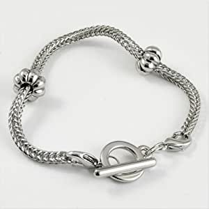 "Amazon.com - Silver Snake Chain Charm Bracelet 7.5"" European Toggle"