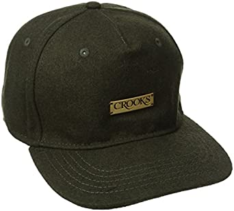 Crooks & Castles Men's Woven Strapback Cap Crooks Metal Badge, Olive, One Size
