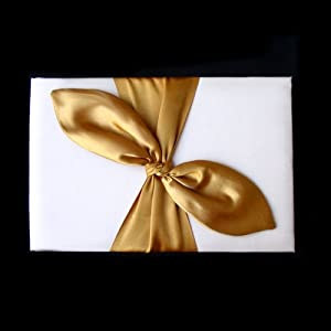 Gold Satin Bow Ivory Wedding Bridal Reception Guest Book NEW