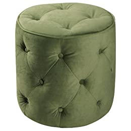 Product Image Curves Tufted Round Ottoman - Spring Green
