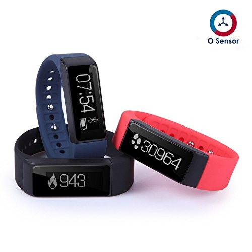 OUMAXTM FIT T3 Wireless Bluetooth 4.0 Activity and Fitness Tracker With 0.91inch OLED Display, Touch Screen, G Sensor, Sleep Monitor and Smart Notifications for IOS Devices & Android Devices (Black/Blue/Pink)