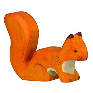 Holztiger Standing Squirrel Wooden Figure (Orange)