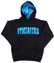 Lizatards Hawaiian Gymnastics Hoodie in Black/Blue - Big Girls Medium (10-12)