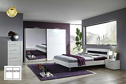 Komplett Schlafzimmer 2226 alpinweiß/ Spiegel Schwebeturenschrank 225cm, Bett 140x200cm