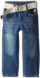 U.S. Polo Assn. Little Boys\' Belted Straight Fit Denim Jean, Medium Safety Blue, 2T