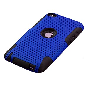 Snap-On Protector Hard Case for Apple iPod Touch 4th Generation / 4th Gen - Blue/Black Hybrid Design + 4.5 Inches Lens/Screen Cleaning Cloth