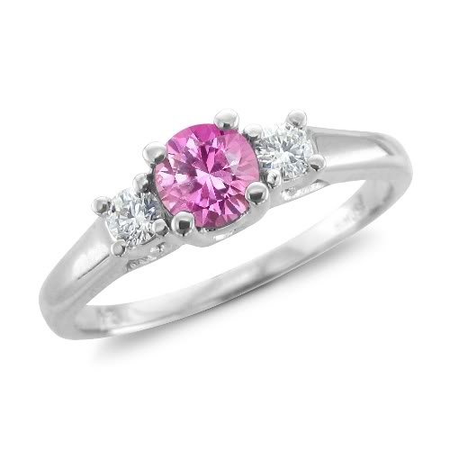Click to buy Sapphire Diamond Engagement Ring: Diamond and Pink Sapphire Engagement Ring in 14K White Gold 3 Stone Ring from Amazon!