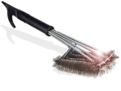 "Barbecue Grill Brush | Best Grill Cleaner On Amazon! Lifetime Replacement! 4-In-1 Stainless Steel Bristles, Won't Scratch! Perfect BBQ Tools Gift For Men, BBQ Grill Accessory 18"" W/Carrying Case"