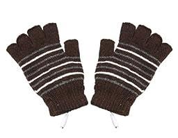 Generic Stripe Pattern USB2.0 Heated Fingerless Gloves