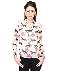 Bedazzle Women's White Animal Print Casual Shirt