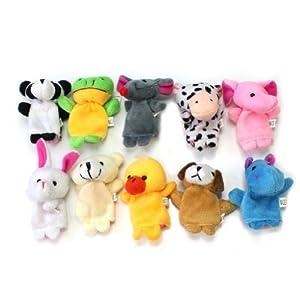 RHX Cute 10 Kinds Lot of Velvet Animal Style Finger Puppets Set Kids Children Gifts from RHX
