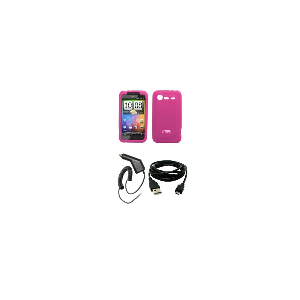 EMPIRE Hot Pink Silicone Skin Case Cover + Car Charger (CLA) + USB Data Cable for Verizon HTC Droid Incredible 2