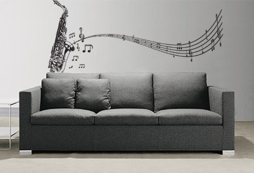 Vinyl Wall Art Decal Sticker Saxophone w/ Music Notes, Big Sax #326