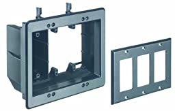 Arlington TVBU507BL-1 TV Box Recessed Outlet Wall Plate Kit, 3-Gang, Black, 1-Pack