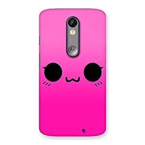 Delighted Pink Smile Face Back Case Cover for Moto X Force