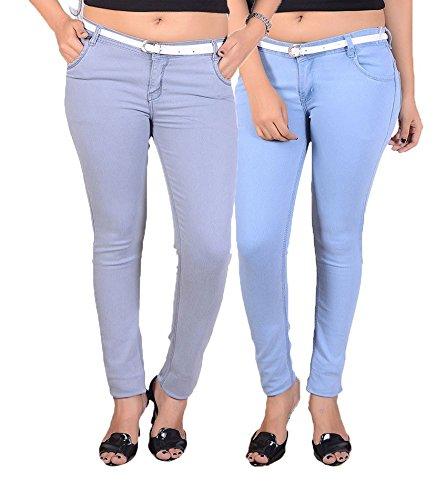 Goodgift Blue & Ice Blue Cotton Lycra Jeans