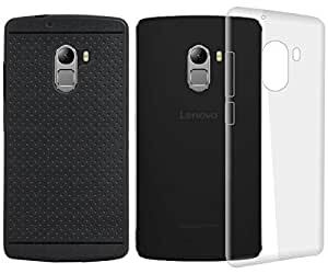 Jkobi Hard Transparent Crystal Clear & Soft Classic Dotted Back Case Cover For Lenovo Vibe K4 Note (Transparent/Black)