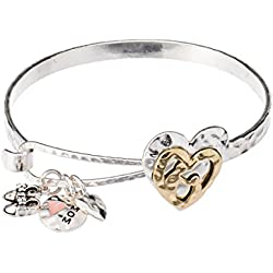 Two-tone Mom & Daughter Heart & Little Feet Three Charm Hammered Bracelet with Inspirational Card