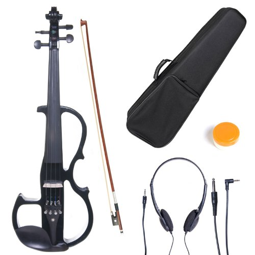 Cecilio 4/4CEVN-2BK Solid Wood Electric/Silent Violin with Ebony Fittings in Style 2 - Full Size - Black Metallic