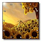 3dRose dpp_66302_1 Sunflower Sunset, Yellow, Brown Wall Clock, 10 by 10-Inch