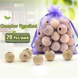 20Pcs Wood Camphor Pest Repellent Anti Bug Moth Cedar Granular Balls Wardrobes