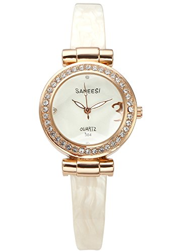 JSDDE Women Wrap Bracelet Watch Synthetic Resin White Band Rhinestone Rose Gold Case Japanese Quartz Wrist Watch (Rose Resin Bracelet compare prices)