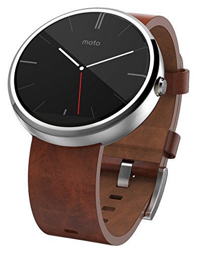 Motorola Mobility Moto 360 Androidwear Smartwatch for Android Devices 4.3 or Higher – Cognac Leather – 22mm