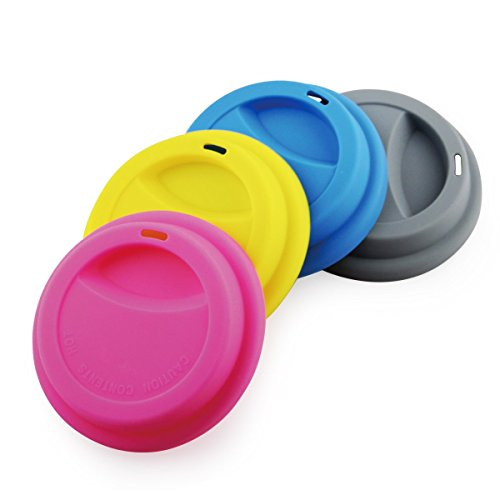Yilove Silicone Cup Lids,Spill-Proof Lid,Anti Dust,Reusable Coffee Mug Lids,4 Pack-Pink Yellow Blue Grey