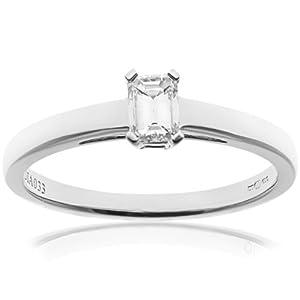 Ariel 18ct White Gold Engagement Ring, J/I1 Certified Diamond, Emerald Cut, 0.33ct