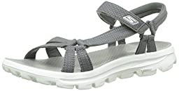 Skechers Women\'s GOwalk Move River Walk Sandal,Charcoal,US 11 M