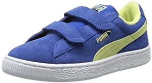 PUMA Suede Classic 2-Strap Sneaker (Toddler/Little Kid/Big Kid),Monaco Blue/Sunny Lime/Gold,11 M US Little Kid