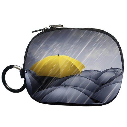 Anhome Rainny Day Yellow Umbrella Stand Out Many Black Umbrella Custom Coin Purse Polyester Fabric front-1044630