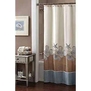 Croscill Shells Ashore Shower Curtain, 70 by 72-Inch, Natural