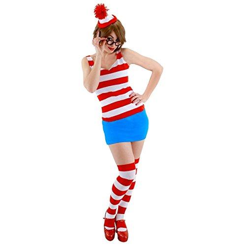 [GSG Wenda Costume Adult Where's Waldo Sexy & Funny Halloween Fancy Dress] (Wheres Waldo Girl Halloween Costume)