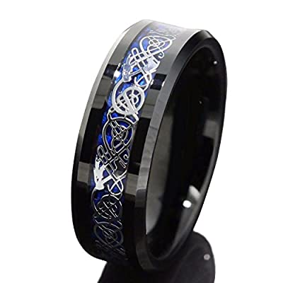 Black Tungsten Carbide Ring Silvering Celtic Dragon Blue Carbon Fibre Mens Band