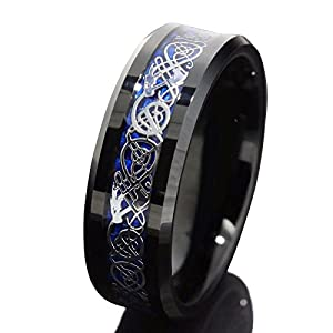 Queenwish 8mm Black Tungsten Carbide Ring Silvering Celtic Dragon Blue Carbon Fibre Wedding Band Mens Jewelry Size 6.5
