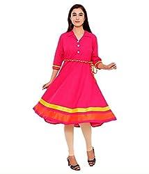 Clickedia Women's Georgette Round Pink Kurti - Semi-stitched