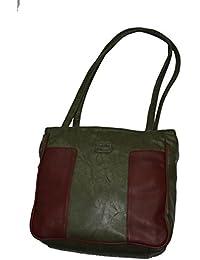 Knott Fashionable Multipurpose Green/Maroon Hand Bag For Women