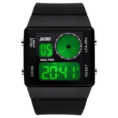 Fanmis Leisure Stylish Square Dial Waterproof LED Digital Unisex Black Rubber Strap Sport Wrist Watch
