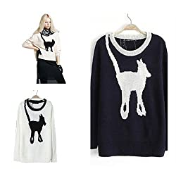 Womens Front and BACK Cute Dog Print Jumper Sweater Knitwear