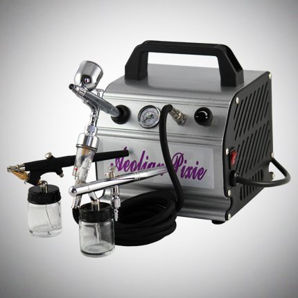 All-in-one Premium Dual-action Airbrush Kit with Professional Air Compressor, 3x Airbrushes and Airhose Set