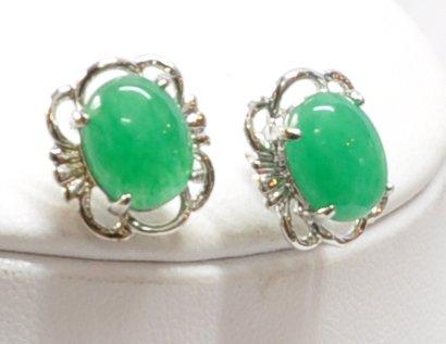 Large Jade Stud Earrings