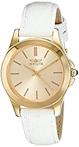 "Invicta Women's 15149 ""Angel"" 18k Yellow Gold Ion-Plated Stainless Steel and White Leather Watch"