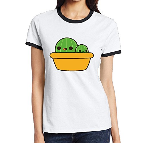 Cute Cactus In Yellow Pot Funny Woman Tshirt Contrast Color Short Sleeve (Dominican Pots compare prices)