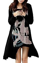 Allegra K Ladies Long Sleeve Skull T Shirts Casual Loose High Low Tops