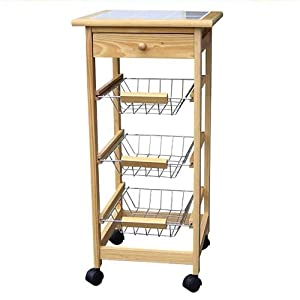 Wood Kitchen Cart On Wheels With Drawer And 3 Storage Baskets Kitchen Home