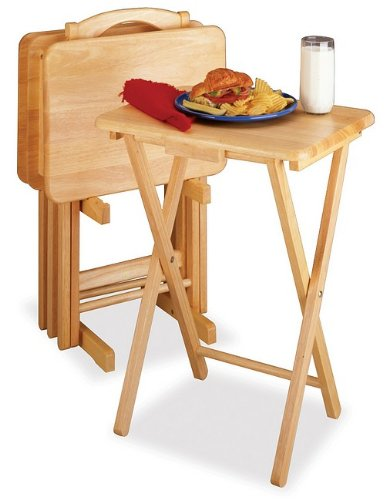 Cheap Solid Wood Tv Table Set, 4 Tv Tables With 1 Stand (AZ34-19006)