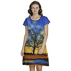 SVT Ada Collections Cotton Bluecolor one piece dress with gliter outine on print(2503M_Blue_Medium)