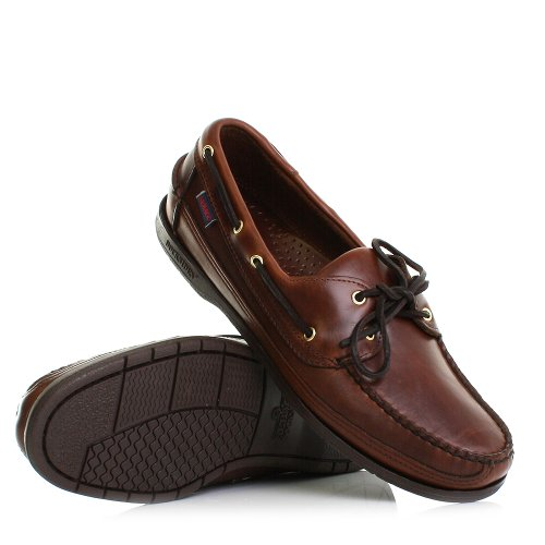 Sebago Schooner Brown Leather Moccasin Deck Shoes SIZE 6-11.5